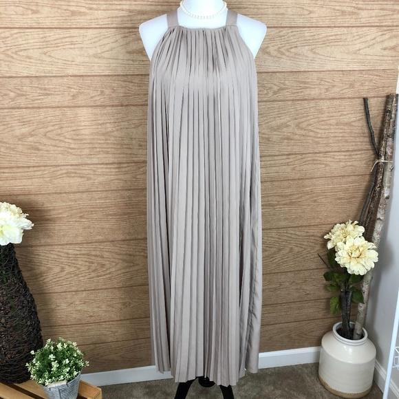 Kate Spade Saturday Neat Pleat Taupe Midi Dress